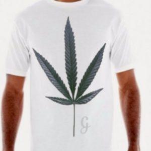 Cannabis leaf white graphic T shirt